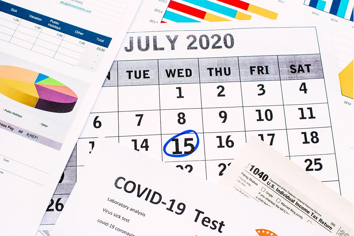 Picture of the July 15th tax deadline extension for 2020